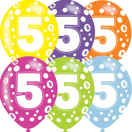 Age 5 Asst Birthday Balloons 6 Pack - The Ultimate Party Shop