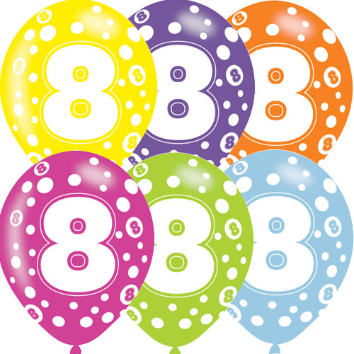 Age 8 Asst Birthday Balloons 6 Pack - The Ultimate Balloon & Party Shop