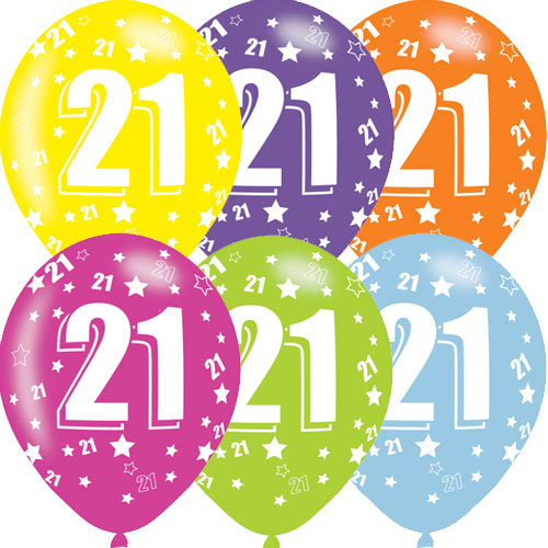 Age 21 Asst Birthday Balloons 6 Pack