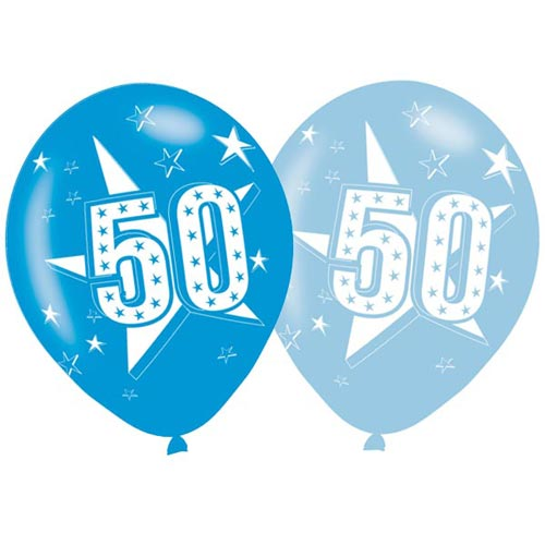 Age 50 Birthday Balloons. Asst Colours 6 Pack