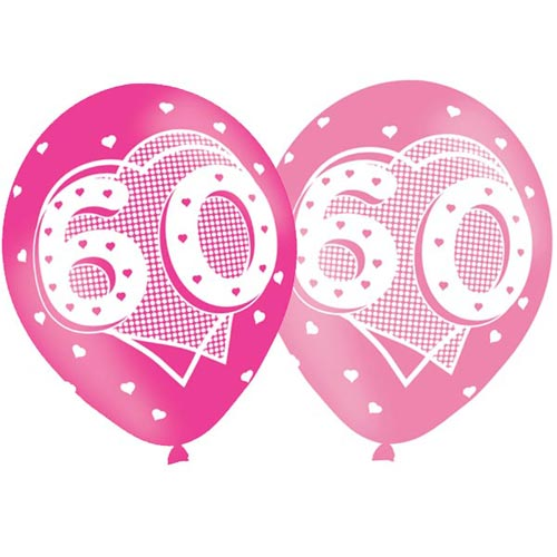 Age 60 Pink Birthday Balloons 6 Pack