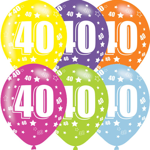 Age 40 Asst Birthday Balloons 6 Pack - The Ultimate Party Shop