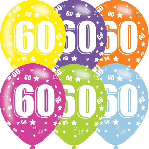 Age 60 Asst Birthday Balloons 6 Pack - The Ultimate Party Shop