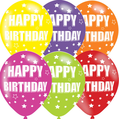 Happy Birthday Asst Colour Balloons 6 Pack