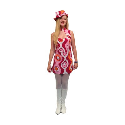 1960s/1970s Pink Swirl Dress Hire Costume - The Ultimate Party Shop