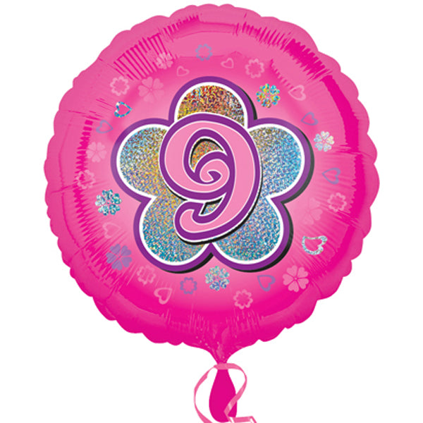 "18"" Foil Age 9 Pink Balloon. - The Ultimate Party Shop"