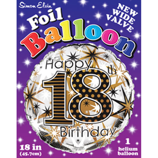 "18"" Foil Age 18 Balloon - Gold Celebration - The Ultimate Balloon & Party Shop"