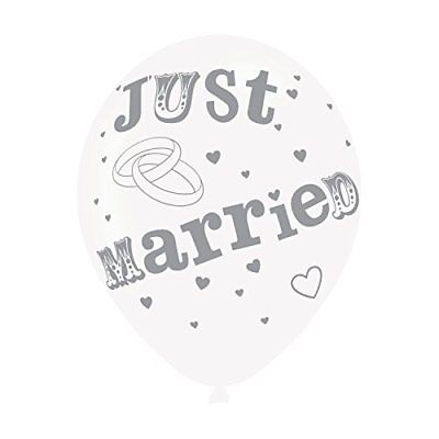 Just Married Printed Balloons 6 Pack