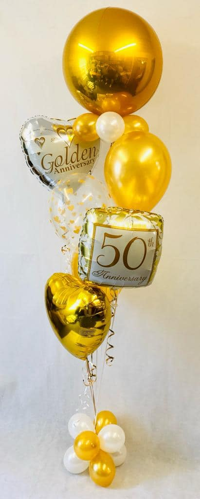 Deluxe 50th Golden Anniversary balloon display - The Ultimate Balloon & Party Shop