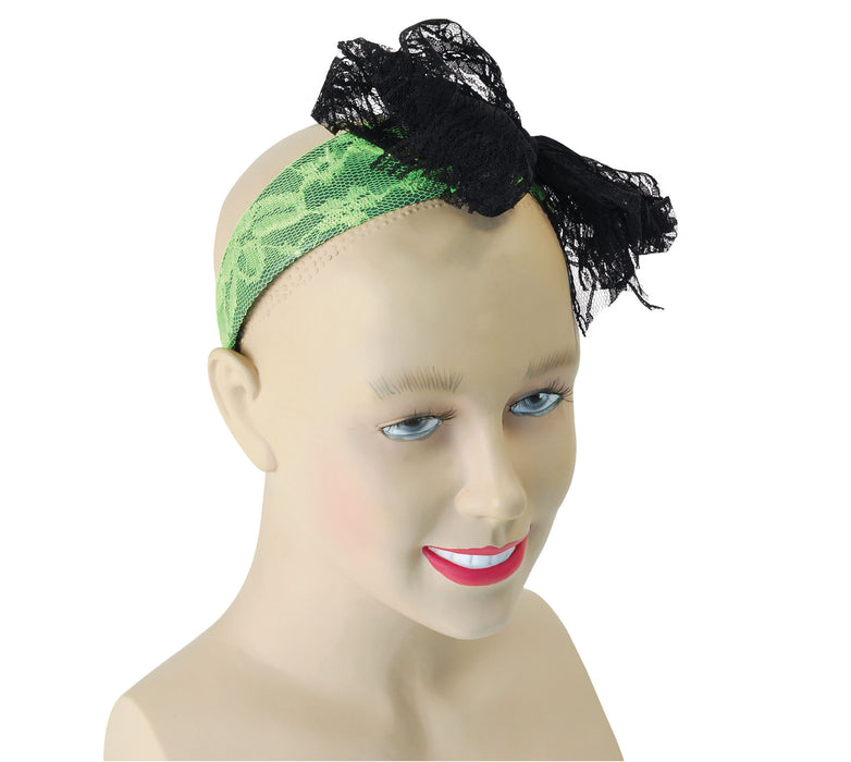 80's Neon Lace Headband - Green