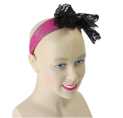 80's Neon Lace Headband - Pink - The Ultimate Party Shop