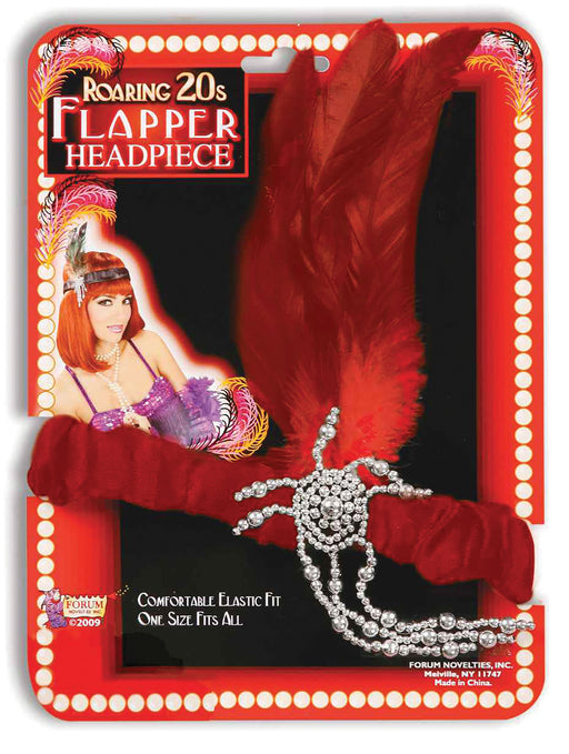 1920's Flapper Red Feather Headband