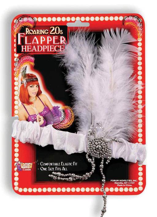 1920's Flapper White Feather Headband