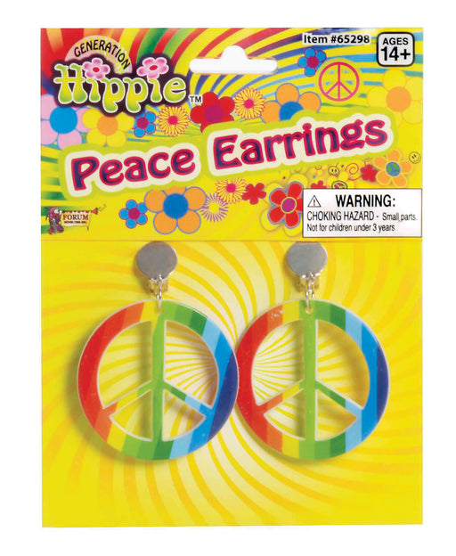 1960's Multicolored Peace Earrings - The Ultimate Party Shop