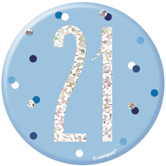 21 Birthday Badge - Blue - The Ultimate Balloon & Party Shop
