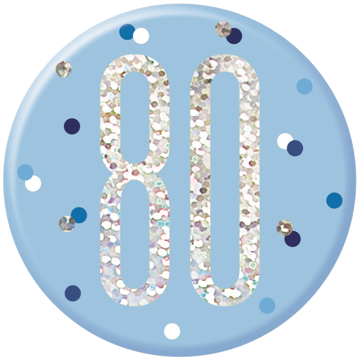 80th Birthday Badge - Blue - The Ultimate Balloon & Party Shop
