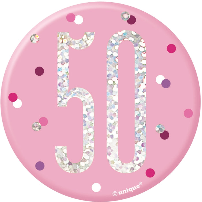 50th Birthday Badge - Pink - The Ultimate Balloon & Party Shop