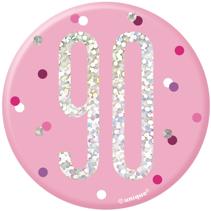 90th Birthday Badge - Pink - The Ultimate Balloon & Party Shop