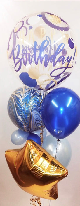 Birthday Bubble Assorted Display - Blue/Gold - The Ultimate Party Shop