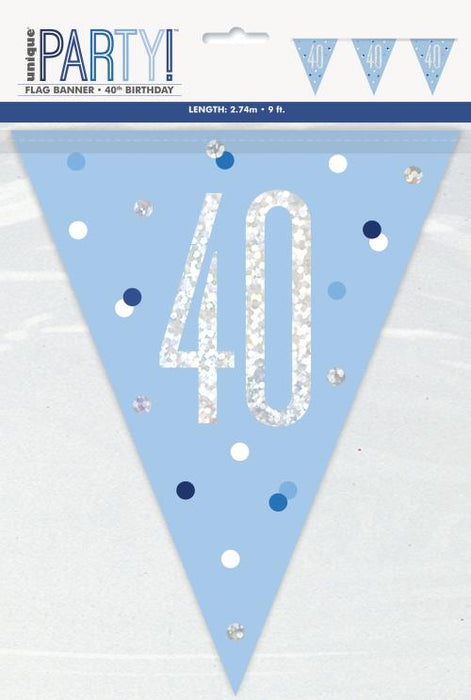 Age 40 Bunting - Blue - The Ultimate Party Shop