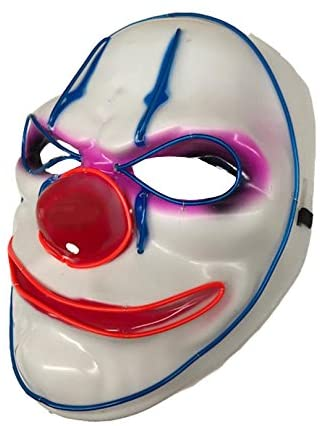 Horror Clown LED Face Mask - The Ultimate Party Shop