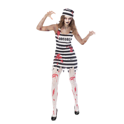 Zombie Convict Female Costume - The Ultimate Party Shop