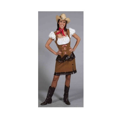 Cowgirl Hire Costume - Brown - The Ultimate Party Shop