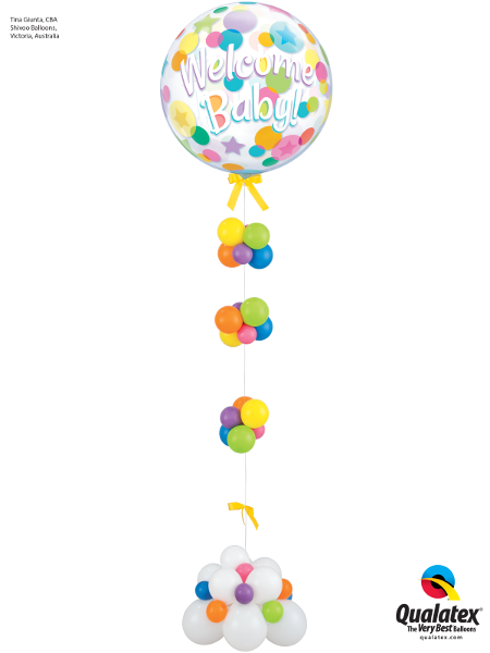Welcome Baby Bubbles on a String - The Ultimate Balloon & Party Shop
