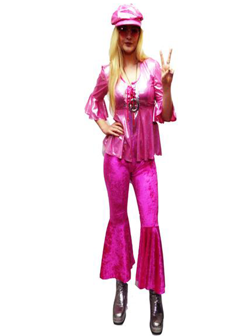 1970s Disco Lady Hire Costume - Pink - The Ultimate Party Shop