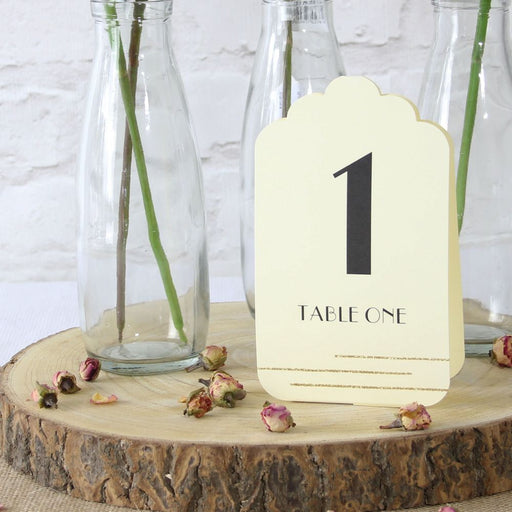 Table Number Cards - Ivory (Glitter) - The Ultimate Balloon & Party Shop