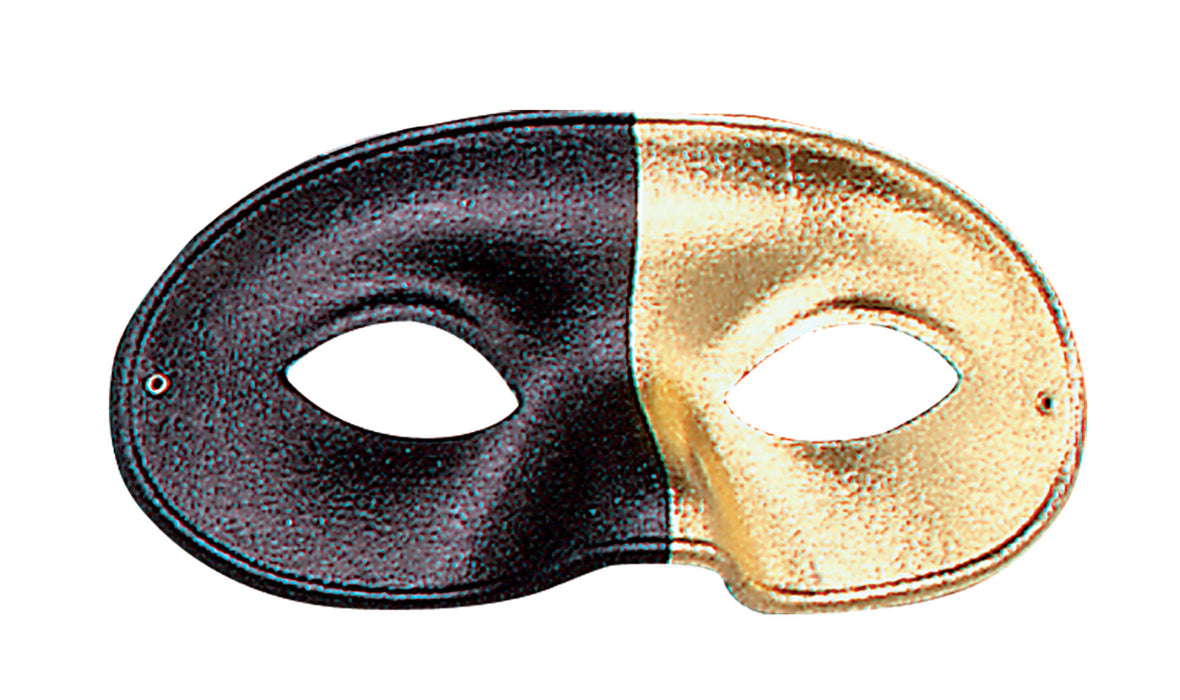Bi-colour Eyemask - Black/Gold - The Ultimate Party Shop