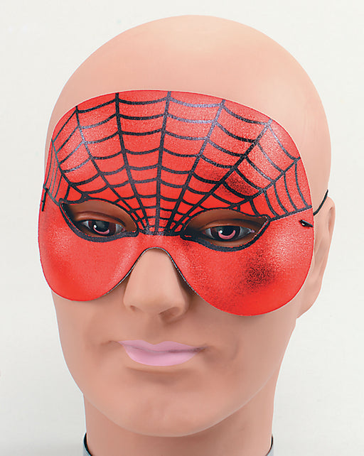 Red & Black 1/2 Face Spider Web Masquerade Eye Mask - The Ultimate Party Shop