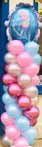 Pretty Pastel Balloon Column with a Princess Elsa on top - The Ultimate Party Shop