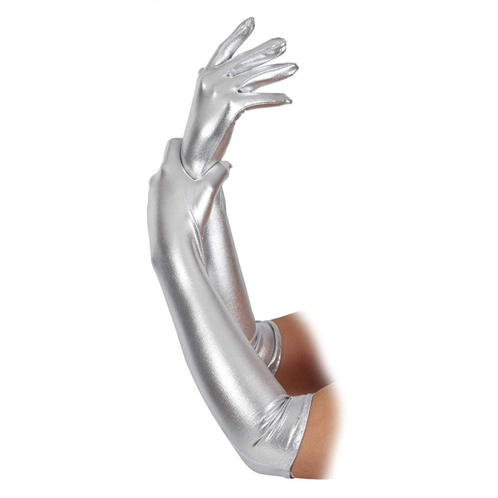 Long Evening Style Gloves - Silver - The Ultimate Balloon & Party Shop