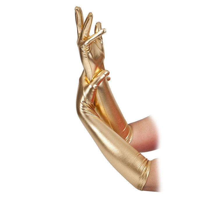 Long Evening Style Gloves - Gold - The Ultimate Party Shop