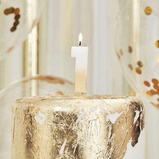 Gold Ombre Wax Number Candle - 1 - The Ultimate Balloon & Party Shop