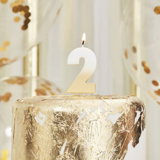 Gold Ombre Wax Number Candle - 2 - The Ultimate Balloon & Party Shop