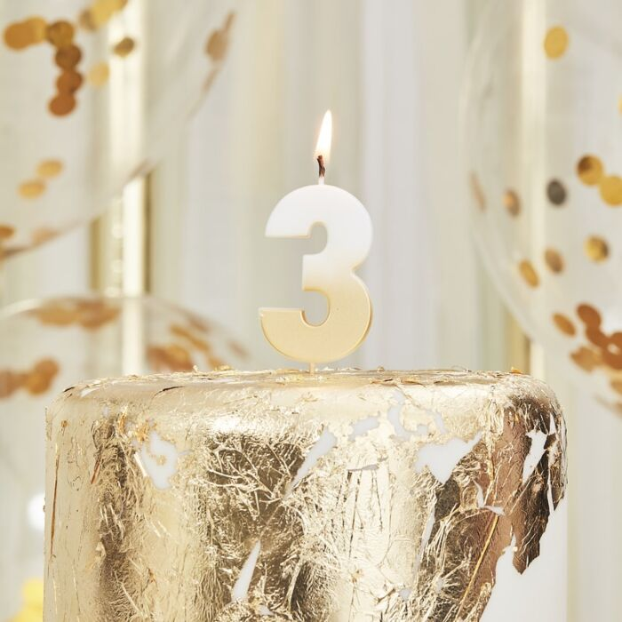 Gold Ombre Wax Number Candle - 3 - The Ultimate Balloon & Party Shop