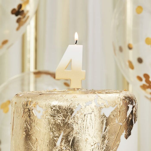 Gold Ombre Wax Number Candle - 4 - The Ultimate Balloon & Party Shop