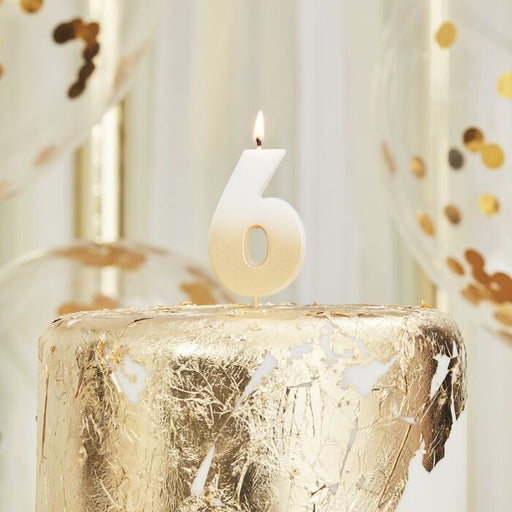 Gold Ombre Wax Number Candle - 6 - The Ultimate Balloon & Party Shop