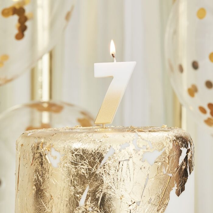 Gold Ombre Wax Number Candle - 7 - The Ultimate Balloon & Party Shop
