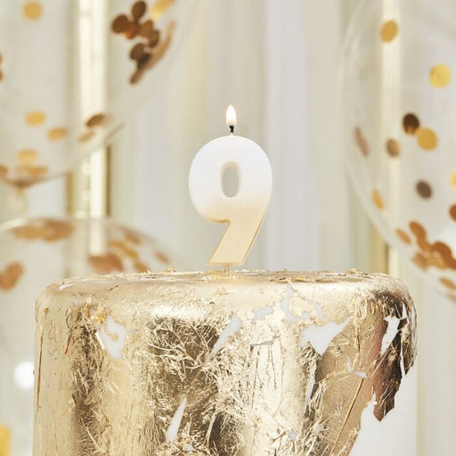 Gold Ombre Wax Number Candle - 9 - The Ultimate Balloon & Party Shop