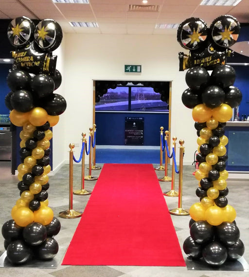 Spiral Column with Foil Balloon Topper - Black &  Gold Hollywood Theme - The Ultimate Party Shop
