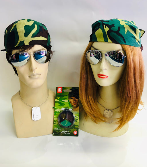 MENS LADIES AVIATOR GLASSES ARMY CAP DOG TAGS FANCY DRESS CAMOUFLAGE COSTUME SET