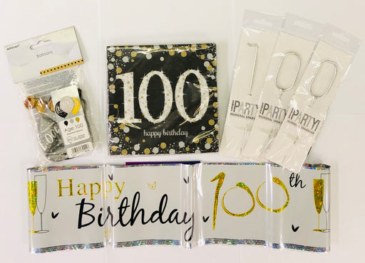 100th Birthday Party Pack - Black/Gold - The Ultimate Balloon & Party Shop