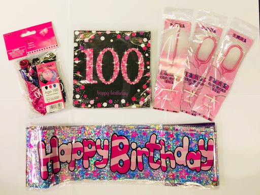 100th Birthday Party Pack - Pink - The Ultimate Party Shop
