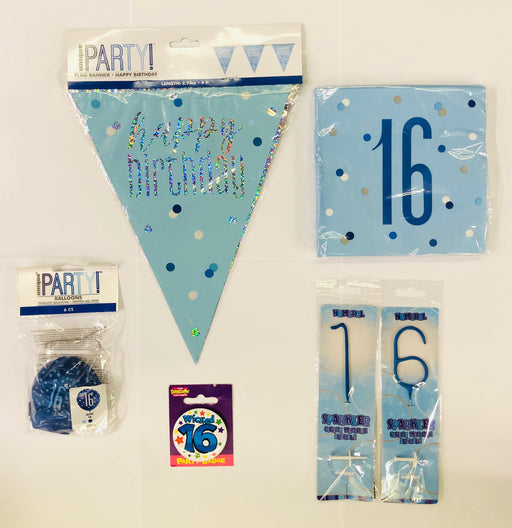 16th Birthday Party Pack - Blue - The Ultimate Party Shop