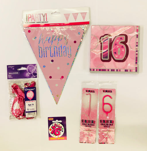 16th Birthday Party Pack - Pink - The Ultimate Party Shop