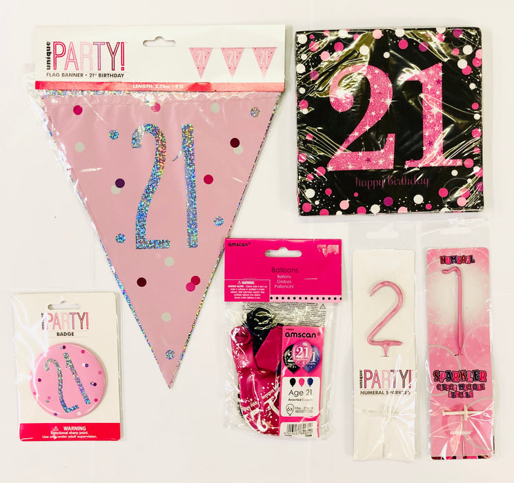 21st Birthday Party Pack - Pink - The Ultimate Balloon & Party Shop