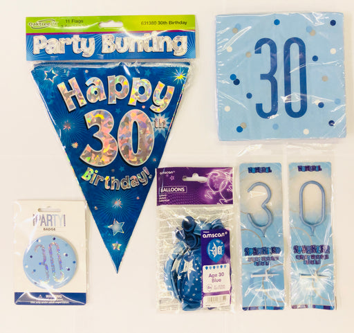 30th Birthday Party Pack - Blue - The Ultimate Balloon & Party Shop